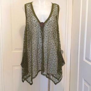 Caroline Morgan Top Khaki Green 100%Polyester  size 16